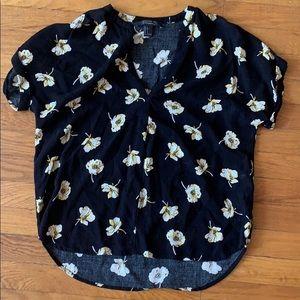 Forever 21 Black Floral Dress Shirt